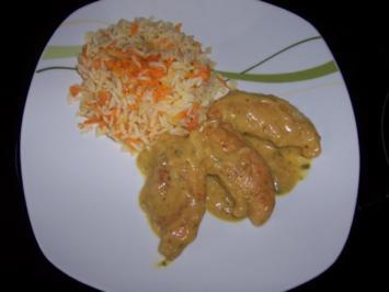 Hähnchenbrustfilets in Senf-Sauce mit Gemüsereis - Rezept