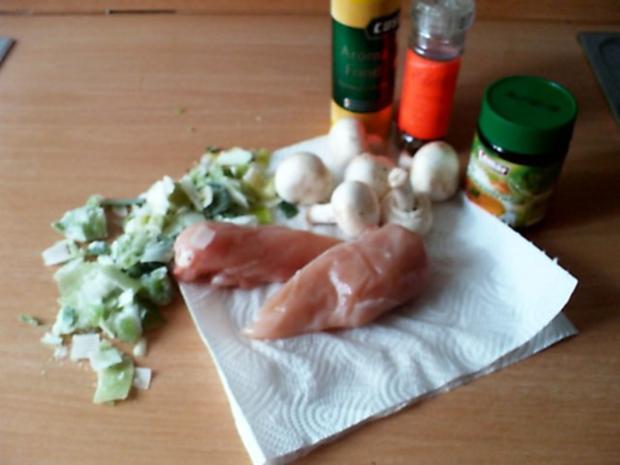 Curry-Hähnchenbrustsalat mit Lauch und Champignons - Rezept - Bild Nr. 2