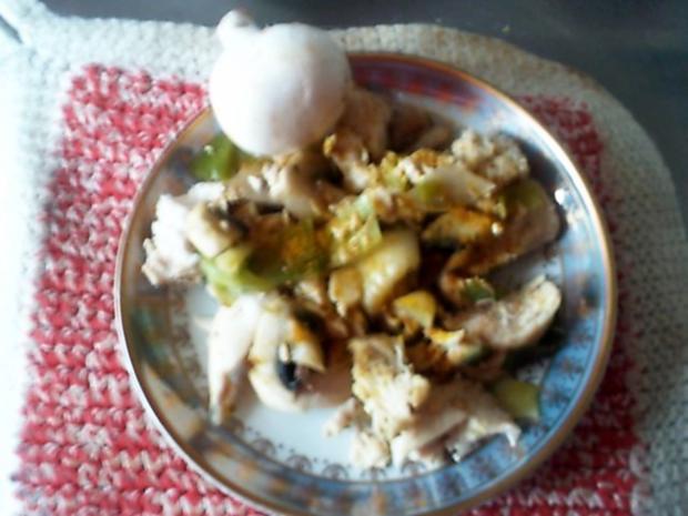 Curry-Hähnchenbrustsalat mit Lauch und Champignons - Rezept - Bild Nr. 7