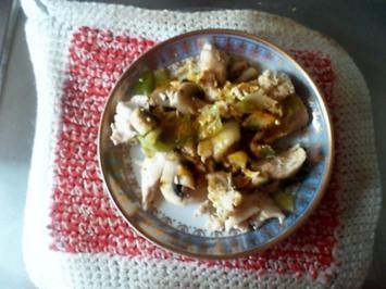 Rezept: Curry-Hähnchenbrustsalat mit Lauch und Champignons