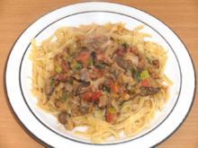 Pilze: Austernpilze in pikanter Sauce auf Bandnudeln - Rezept