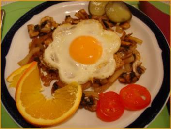 Spiegelei-Champignon-Toast - Rezept