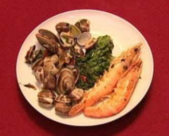 Venusmuscheln, Salat mit Gambas und Roseval-Kartoffeln (Ellen ten Damme) - Rezept