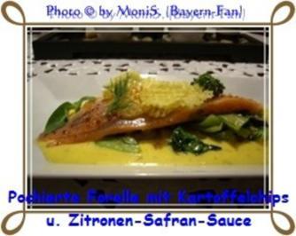 Pochierte Forelle mit Kartoffelchips und Zitronen-Safran-Sauce - Rezept