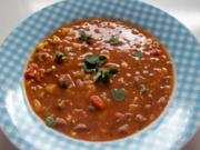Zwiebel-Gyrossuppe mit Mais und Paprika - Rezept