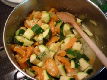Pasta an Gemüse-/Sahnesoße - Rezept