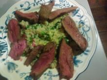 Beef (rosa) an Bulgur-Salat warm - Rezept