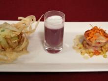Blutwurst-Apfel-Praline auf Rahmkraut, Süppchen vom Rotkohl und Birne und Saumagentürmchen - Rezept