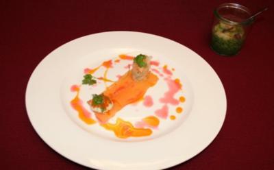 Gazpacho vom Feldsalat, dazu Untergrombacher Forelle mit Kracherle - Rezept
