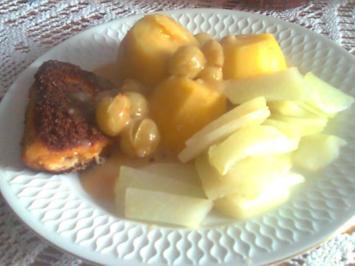 Hähnchen-Cordon Bleu mit Kohlrabi, Salzkartoffeln und Weintraubenoße - Rezept