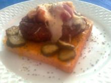 Frikadelle mit Pfirsich/Käse überbacken - Rezept