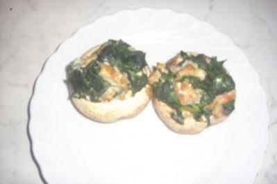 Champignons mit Spinat-Lachs - Rezept