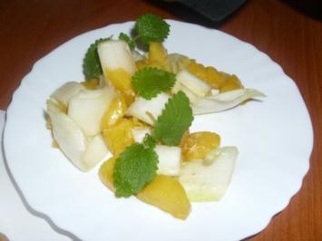 Curryhähnchen mit Baguette und Chicorée-Mango-Salat - Rezept