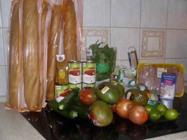 Curryhähnchen mit Baguette und Chicorée-Mango-Salat - Rezept - Bild Nr. 3