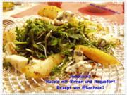 Rucola mit Birnen und Roquefort - Rezept