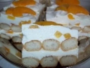 Pfirsich-Tiramisu-Stückchen - Rezept