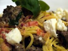 Spaghetti mit Lammhack und Paprika - Rezept