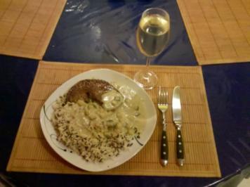 Fleisch: Harissa-Schnitzel mit Gorgonzola-Zucchinisoße und Wildreis - Rezept