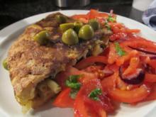 Nudelomelett mit Tomatensalat - Rezept