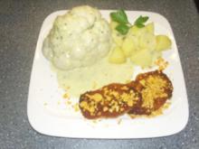 Blumenkohl mit Käsesosse, Knusperschnitzel und Kartoffeln - Rezept