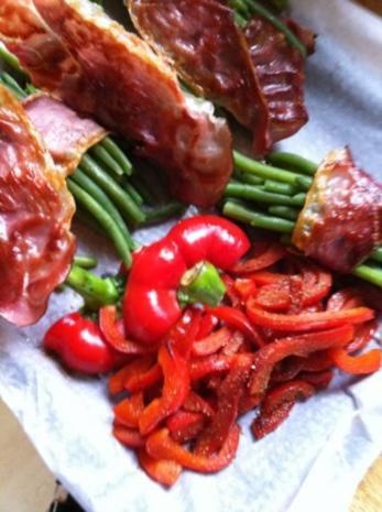 Wildlachs-Filet mit Speckbohnen und Paprikastreifen mit Stampfkartoffeln - Rezept - Bild Nr. 3