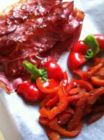 Wildlachs-Filet mit Speckbohnen und Paprikastreifen mit Stampfkartoffeln - Rezept - Bild Nr. 5