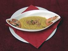 Crema de verduras y camarónes - Gemüsecrèmesuppe mit Garnelen (Ailton) - Rezept