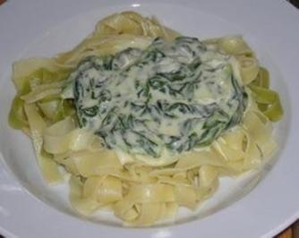 Pasta mit Spinat-Parmesan Sauce - Rezept