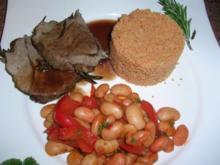 Rosmarin-Knoblauch-Lammkeule mit weißen dicken Bohnen und Couscous - Rezept