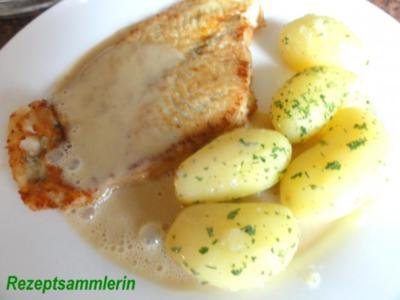 Fisch:   SCHOLLENFILET an Senfsauce - Rezept