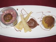 Lauwarmes Kastanien-Törtchen an Kastanienmousse auf Rotweinfeigenkompott - Rezept