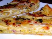 Blätterteigtarte mit Lauch Birne und Roquefort - Rezept