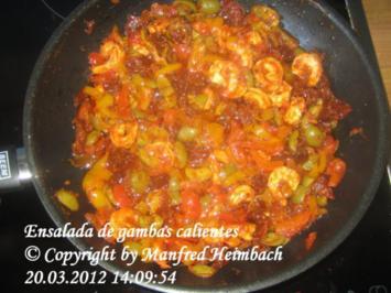 Shrimps - Ensalada de gambas calientes – Warmer Shrimpssalat - Rezept