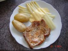 Fleisch : Koteletts, frischer Spargel und Spargelkartoffeln - Rezept