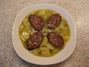 Kartoffelgemies mit Blutworscht - Rezept