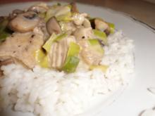 Geflügel, Pute: Putenragout mit Champignons und Reis - Rezept