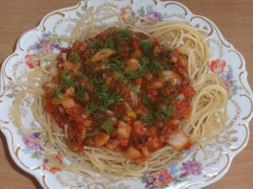 Hauptgericht: Spaghetti, mediterran - Rezept