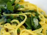 Spaghetti auf der Erbse - Rezept