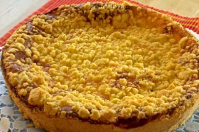 Käse-Kirschkuchen mit Streusel - Rezept