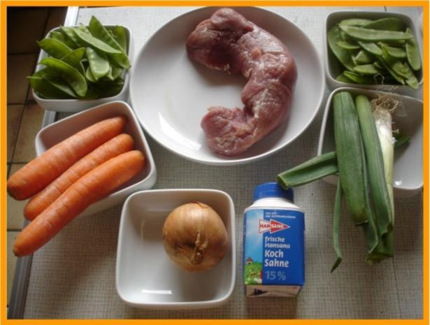 Nudeln mit Schweinefleisch und Gemüse in Pflaumensauce - Rezept - Bild Nr. 2