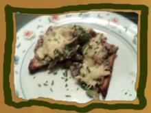 überbackene Schinken -Champignons Toast - Rezept