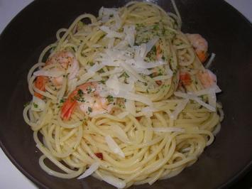 Spaghetti aglio e olio con Scampi - Rezept