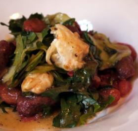 Rezept: Lauwarmer Salat mit Merguez und karamellisierten Tomaten
