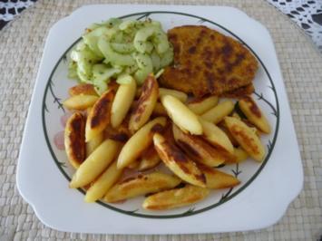 Fleischlos : Sojaschnitzel mit Schupfnudeln und Gurkensalat - Rezept