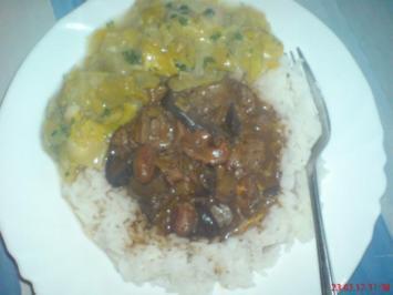 Hähnchen-Innereien-RAGUET  mit Reis und Porreegemüse - Rezept