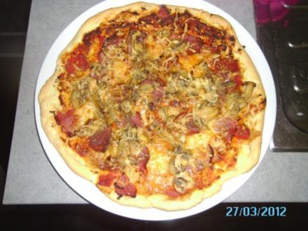 Prosciutto-Funghi Pizza - Rezept