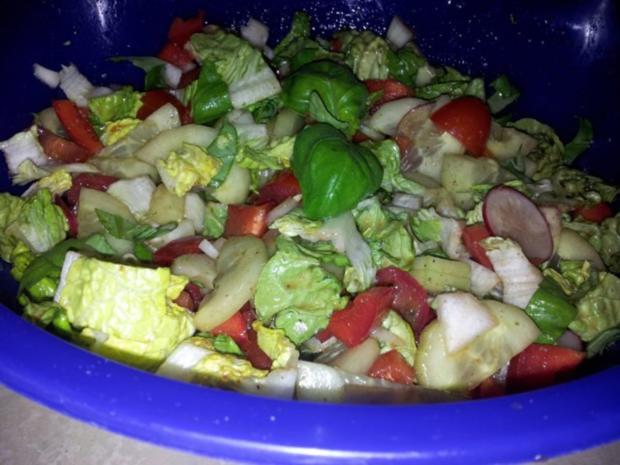 Gemüse-Salat mit Radischen, Balsamico-Essig, Knoblauch  + Kräutern - Rezept - Bild Nr. 7