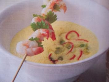 Curry-Kokos-Suppe mit Shrimps - Rezept