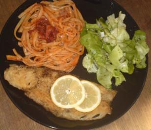 Seehecht mit Bavette und Tomatensoße - Rezept