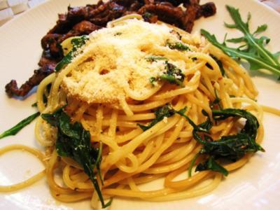 Spaghetti mit Rucola ... - Rezept
